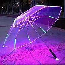 Hatrita-J New 8 Rib Light up Runner Style Changing Color LED Umbrella with Flashlight Transparent Handle Straight Umbrella Parasol