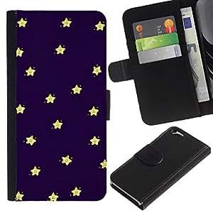 EJOY---La carpeta del tirón la caja de cuero de alta calidad de la PU Caso protector / Apple Iphone 6 / --Sleep Baby Stars Cielo Azul Marino Amarillo