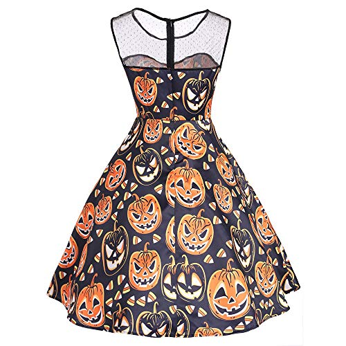 Clearance Sale!Toimoth Womens Ladies Halloween Print Long Sleeve Evening Prom Costume Swing Dress(OrangeB,L)