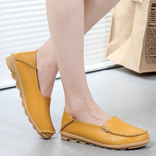 Fereshte Mode Féminine Mocassins En Cuir Véritable Casual Slip-on Chaussures Plates À Semelles Souples Pour La Conduite Shopping Jaune Coupe-bas