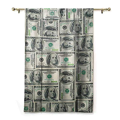 HCCJLCKS Spa Roman Curtain Money Dollar Bills of United States Federal Reserve with The Portrait of Ben Franklin Simple Style Pale Green Grey W35 xL64 (Style Curtains Federal)