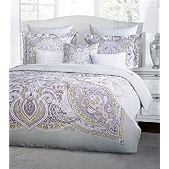 Harlow Bedding 3 Piece King Duvet Cover Set Classic Medallion Pattern Pink  Lavender Purple Gold Gray