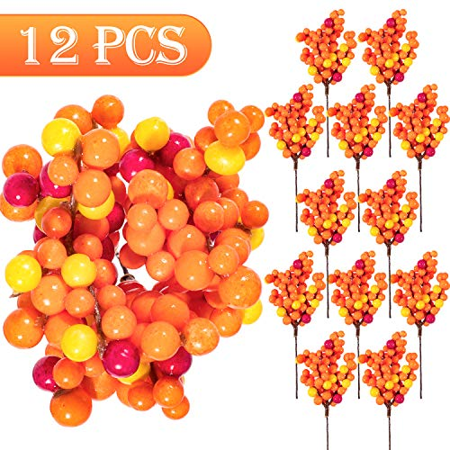 Whaline Orange Berry Twig Stem, 12 Pack Artificial Orange Berry Picks for Autumn Fall Decor, Christmas Tree Decorations, Crafts, Wedding, Holiday Home Decor (Christmas Decorations Orange Tree)
