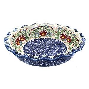 Blue Rose Polish Pottery Jungle Bouquet Pie Plate