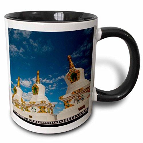 (3dRose Danita Delimont - Ellen Clark - Temples - Jammu and Kashmir, Ladakh, Leh, chortens at Thiksey Monastery - 15oz Two-Tone Black Mug (mug_188092_9))