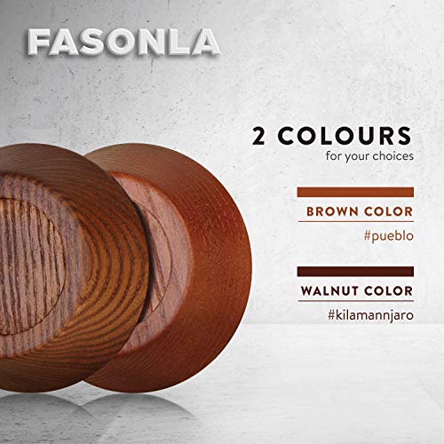 "FASONLA Bed Risers (Set of 8) Furniture Risers Lifts Height 1"", 2"", 3"" or 4"", Solid Natural Wood Risers for Bed, Furniture, Table, Sofa, Chair Risers with Non-Slip Recessed Hole (Walnut Color, 1 Inch)"