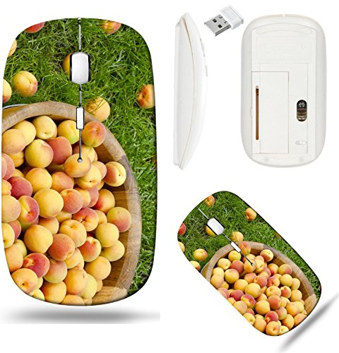 Liili Wireless Mouse White Base Travel 2.4G Wireless Mice with USB Receiver, Click with 1000 DPI for notebook, pc, laptop, computer, mac book Beautiful ripe apricots in a wooden bowl ()