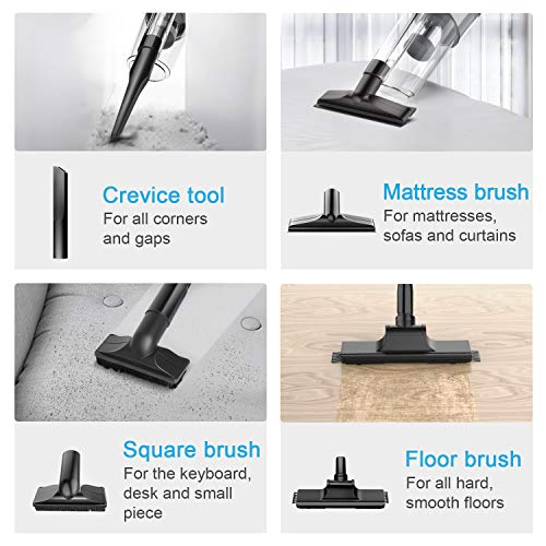 oneday Handheld Vacuum Cordless Hoover Rechargeable Stick Vacuum Cleaner Cyclonic Suction Low-noise with 6 Accessories