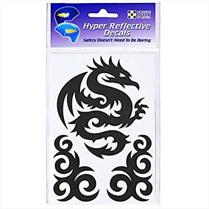 Tribal Dragon Decal Sticker for Motorbike Safety High Visibility FLUORESCENT