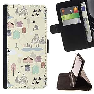 For Sony Xperia Z2 D6502 Case , Pintura invierno Pueblo Blanco Cartoon Limpio- la tarjeta de Crédito Slots PU Funda de cuero Monedero caso cubierta de piel