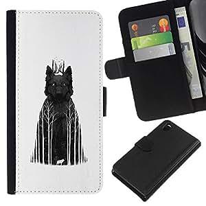 All Phone Most Case / Oferta Especial Cáscara Funda de cuero Monedero Cubierta de proteccion Caso / Wallet Case for Sony Xperia Z3 D6603 // Dark Wolf Woods