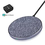 7.5W/10W/5W Fast Wireless Charger with QC3.0 Adapter Designed for iPhone X/ 8/ 8Plus/ Samsung Galaxy S9/ S9+/ S8/ S8+/ S7/ Note 8 and All Qi-Enabled Devices, Wefunix Qi Fast Wireless Charging Pad