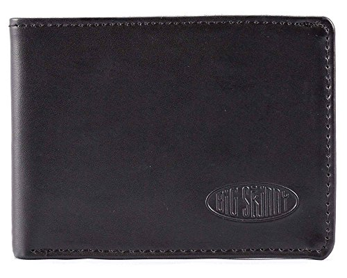Big Skinny Men's Compact Sports Leather Bi-Fold Slim Wallet, Holds Up to 20 Cards, Black