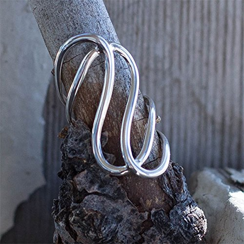 Statement Ring Silver Thumb Contemporary Style Swirls For Women 925 Size 7.5 ()