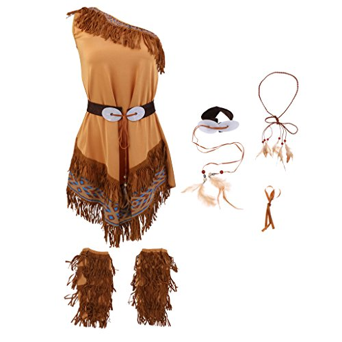 MonkeyJack Indian Women Squaw Costume Native American Tribal Halloween Fancy Dress - XXL ()