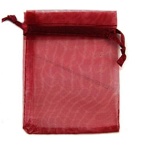 XLPD 100Pcs Organza Bags Jewelry Packaging Sachet Bags Wedding Event Decoration Supplie 7X9 9X12 10X15 11X16 13X18 15X20 17X23cm 6Z Red Wine 10x15cm -