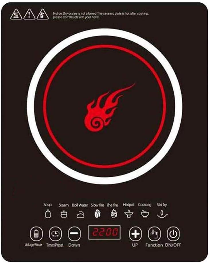 F-JX Placa Inducción Kits, Doble Cocina De Inducción con Ultra-Delgado Cuerpo, 8 Niveles De Temperatura, Niveles De Potencia Múltiples, 2200W, 3 Horas De Reloj, Llave De Seguridad