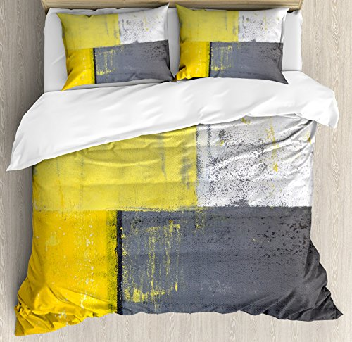 Ambesonne Grey and Yellow Duvet Cover Set, Street Art Modern Grunge Abstract Design Squares, Decorative 3 Piece Bedding Set with 2 Pillow Shams, Queen Size, Charcoal Yellow (And Duvet Cover Yellow Grey)