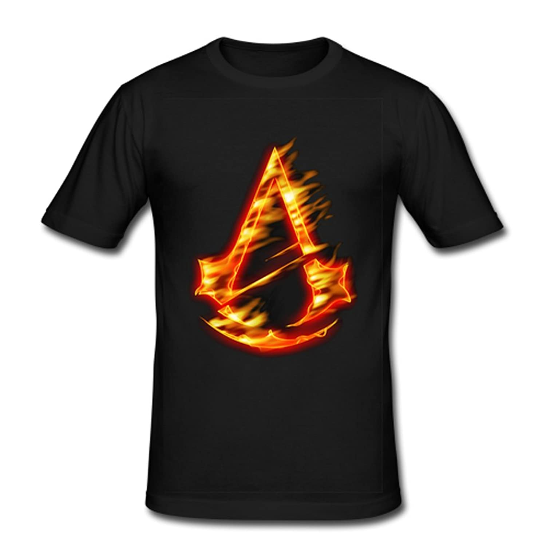 JIUDUIDODO Men's Crew Neck Cotton Assassin's Creed Game T-Shirt XXL Black
