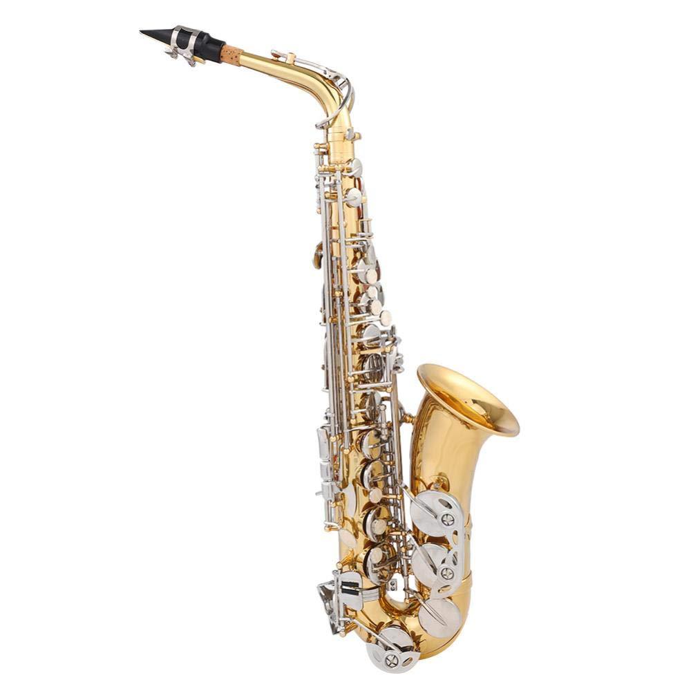 Vbestlife Alto Saxophone - Standard EB Alto Saxophone E フラット真鍮サックス初心者キット キャリーケース付き - コルクグリース - ネックストラップ - サクソフォンリード10本 ゴールド   B07H85866X