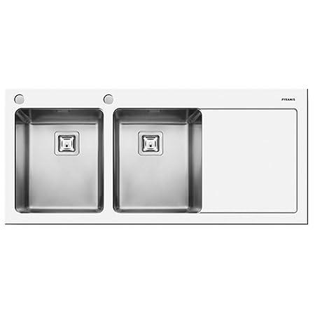 Pyramis Crystalon 2.0 Bowl White Glass & Stainless Steel Kitchen ...