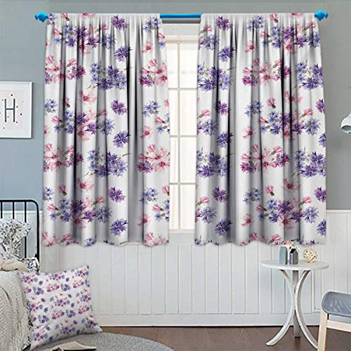 Chaneyhouse Watercolor Window Curtain Drape Floral Pattern with Wedding Inspired Blossoming Nature Bridal Bouquet Decorative Curtains for Living Room 63