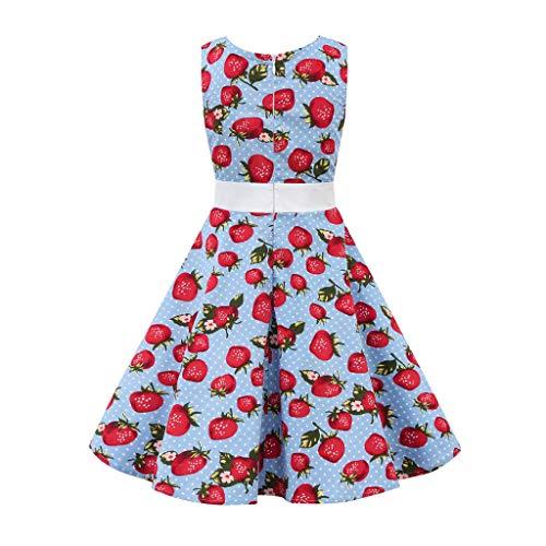 YESOT Vintage Dresses for Little Girls Children Girls Sleeveless Sundresses Flower Print Princess Dresses (11-12 Years, Light Blue) ()