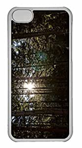 iPhone 5C Case, Personalized Custom Sun Between Trees for iPhone 5C PC Clear Case