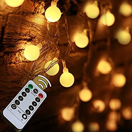 33ft 100LED bedroom decor LED Globe String Lights Battery Powered w/Remote Timer Outdoor/ & Amazon.com : 33ft 100LED bedroom decor LED Globe String Lights ...