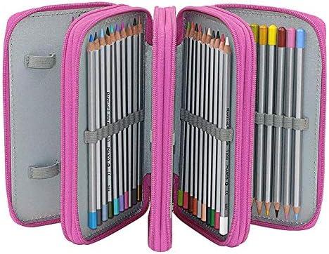 Estuche con cremallera, 72 lápices de colores, 72 ranuras para guardar lápices, 4 capas, bolsa de gran capacidad para niños y niñas, estudiantes, arte escolar, color rosso: Amazon.es: Oficina y papelería