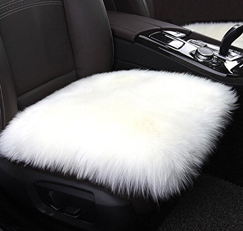MRealGal Faux Sheepskin Car Seat Cushion, Fur Square Chair Sofa Cover Cushion Pet Pads Area Rugs with Non-Slip Backing for Auto Office Kitchen (Non Slip Backing)