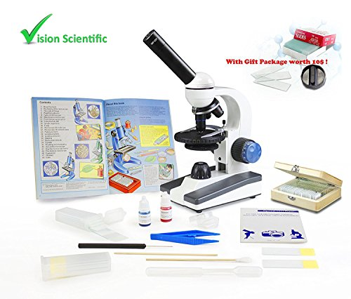 VIsion Scientific VME0018-RC-P2 Monocular Elementary Level Microscope, 40x-1000x Magnification, Microscope Book, Microscope Discovery Kit, 25 Prepared Slides Set, Free Gift Package ($10 Value) by Vision Scientific