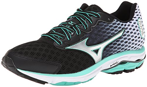 Mizuno Women's Wave Rider 18 Running Shoe, 8 2A(N) US - Black/Silver - Mid Top Extension