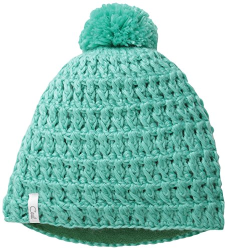 Coal Women's The Waffle Hand-Crocheted Waffle-Knit Beanie with Pom, Mint, One Size
