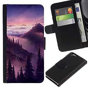Puesta de sol salida del sol Montañas Árboles- la tarjeta de Crédito Slots PU Funda de cuero Monedero caso cubierta de piel Para Apple (4.7 inches!!!) iPhone 6 / 6S
