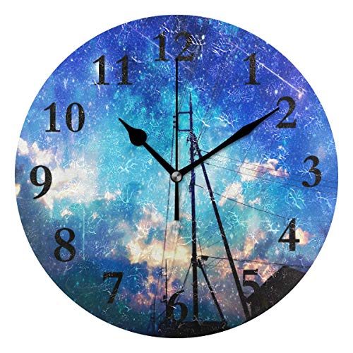 - NMCEO Wall Clock Starry Sky Over The City Round Hanging Clock Acrylic Battery Operated Wall Clocks for Home Decor Creative