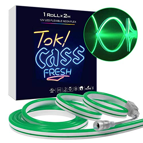 Takefuns Led Neon Sign Neon Light Strip Silicone LED Rope Lights 12V 2M/6.5 Ft Roll,Waterproof, Interconnectable for Indoor Outdoor Commercial Lighting Halloween Christmas Bar Garden Party Decor