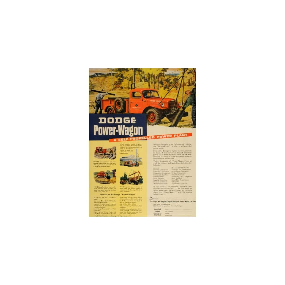 1947 Ad Red Dodge Power Wagon Truck Four Wheel Drive   Original Print Ad