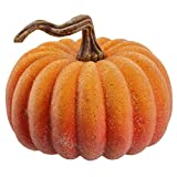 SilksAreForever 8'' Hx10 W Artificial Beaded & Weighted Pumpkin -Orange (Pack of 4)