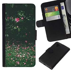 WINCASE Cuadro Funda Voltear Cuero Ranura Tarjetas TPU Carcasas Protectora Cover Case Para LG Nexus 5 D820 D821 - campo de verano rosa verde soleado
