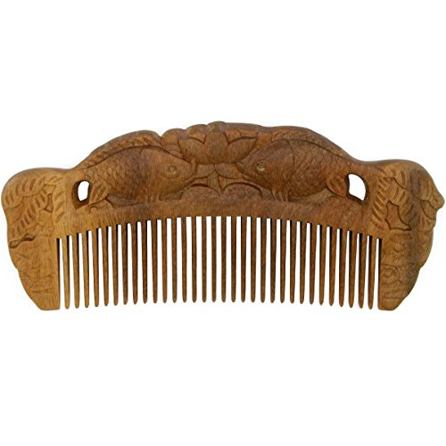 Forever Young Jaw Clips (YOY Handmade Carved Natural Sandalwood Hair Comb - Anti-static No Snag Brush for Men's Mustache Beard Care Anti Dandruff Women Girls Head Hair Accessory (HC1007))