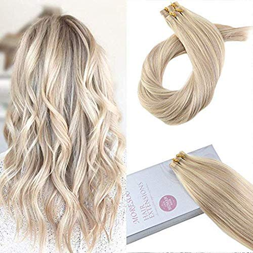 (Moresoo 18Inch Remy Tape in Hair Extensions Human Hair Highlighted Color #18 Ash Blonde with #613 Blonde Seamless Skin Weft Human Hair Extensions 20PCS 50G Full)