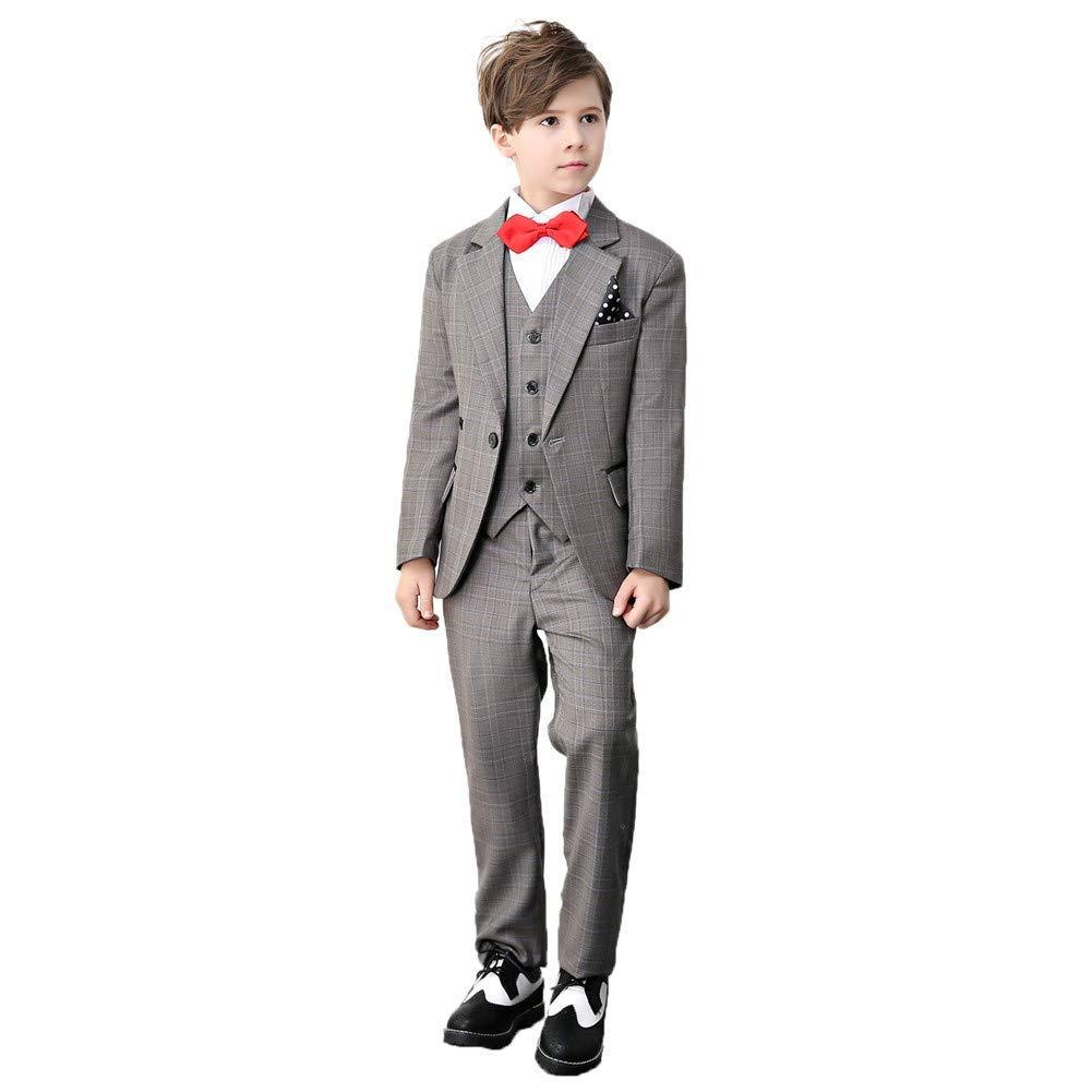 suit women Boys Suit Set Formal Slim Fit Grey Plaid Kids Tuxedo 4Pcs Vest and Pants Suit