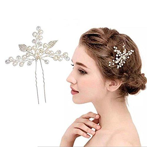Bridal Headpiece,OWEV 2 Sets of Slivery Handmade Wedding Hair Comb Clip Pearl Hairpin Rhinestone (L)