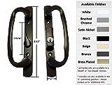 Sliding Glass Patio Door Handle Set, Mortise Type, Keyed, Black, 3-15/16'' Screw Holes