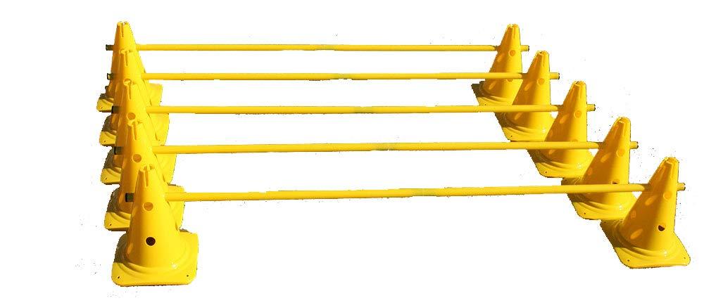 Boje Sport調整トレーニングのための5つのハードルのセット - 10x MZK:30 cm、黄色/ 5x棒:160 cm、黄色