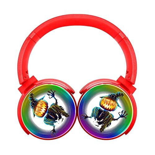 DNpni Halloween Pumpkin Wireless Headset Stereo Subwoofer On-Ear Bluetooth Headphone HiFi with Mic Red
