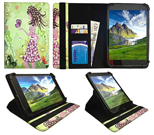 Sweet Tech Point View Mobii Onyx Tab I549 / I550 7 Inch Tablet Girl Butterfly Universal 360 Degree Rotating PU Leather Wallet Case Cover Folio (7-8 inch)