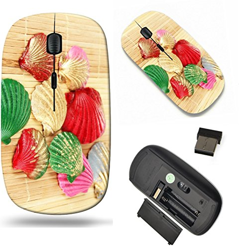 MSD Wireless Mouse Travel 2.4G Wireless Mice with USB Receiver, Noiseless and Silent Click with 1000 DPI for notebook, pc, laptop, computer, mac book design 20956594 Colorful seashells on bamboo ()
