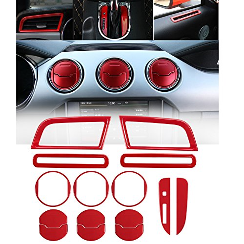 Opall Interior Decoration Metal Console Central &Car Door &Dash Board Side Air Conditioner Outlet Vent, Chrome Shift Gear Box Switch Button Cover Trim For Ford Mustang 2015 2016 2017 2018 (RED 15PCS)